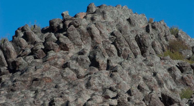 Highly weathered columnar formation. Photo by Dr Richard Medd